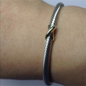 DY X 18k Bangle 4mm Cable Sz Small